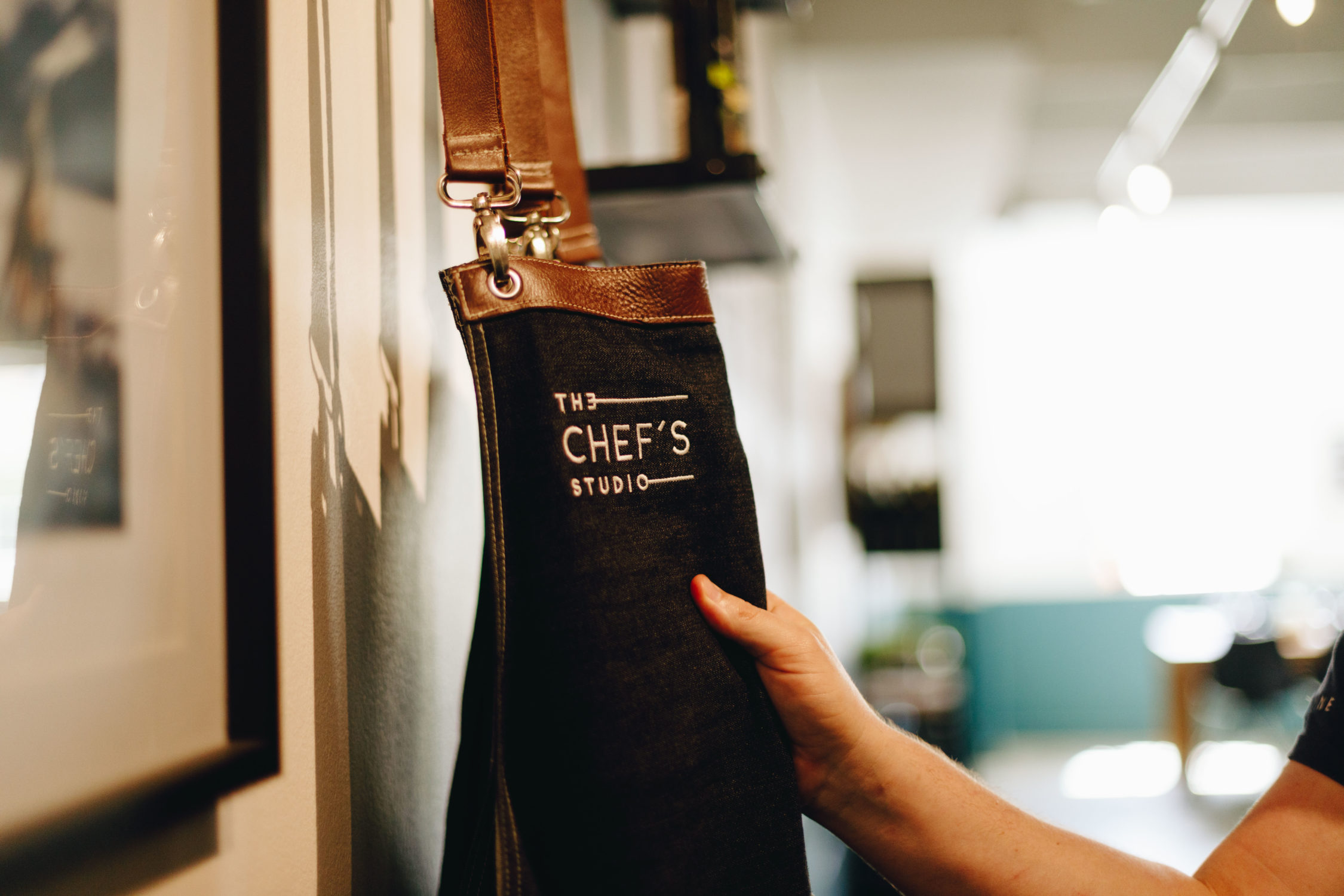The Chef's Studio Denim Aprons with Leather Inserts
